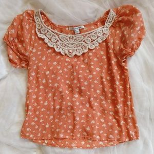 Forever 21 Peachy Orange Apple Lace Chiffon Top S